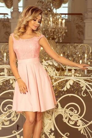 Rochie scurta de seara din dantela Flora, roz pastel1