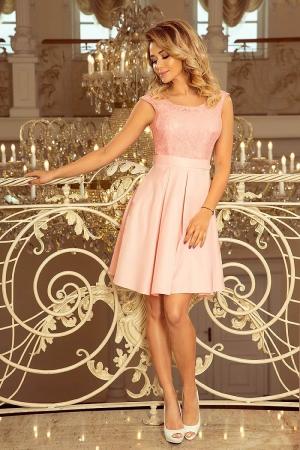 Rochie scurta de seara din dantela Flora, roz pastel0