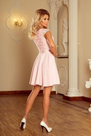 Rochie scurta eleganta de seara cu dantela Marta roz1