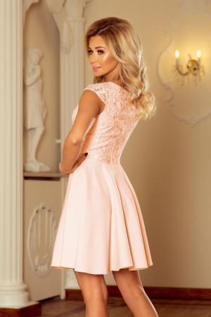 Rochie scurta eleganta de seara cu dantela Marta roz2