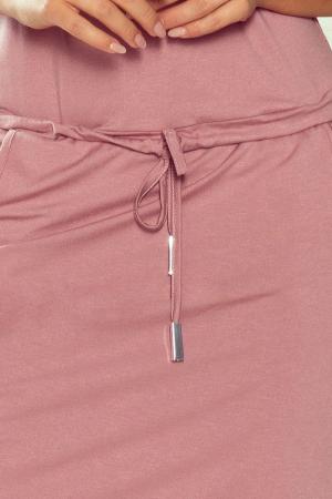 Rochie sport casual cu buzunare roz prafuit3