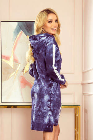 Rochie hanorac cu buzunare si gluga albastru marmorat [1]