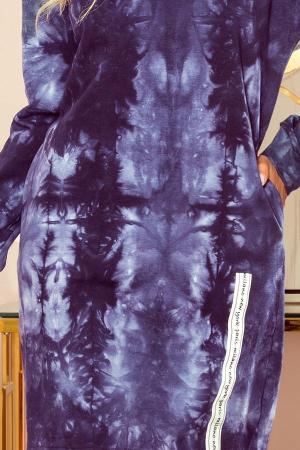 Rochie hanorac cu buzunare si gluga albastru marmorat [3]