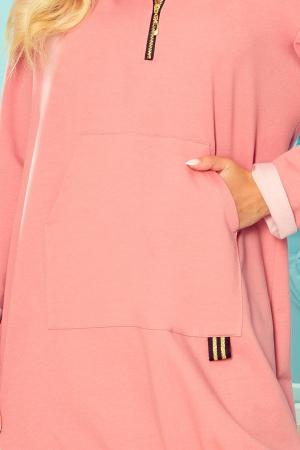Rochie sport cu gluga si buzunare roz - Rochii sport dama [3]
