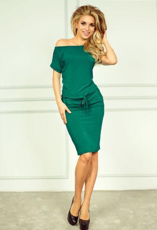 Rochie verde smarald cu buzunare si maneca scurta