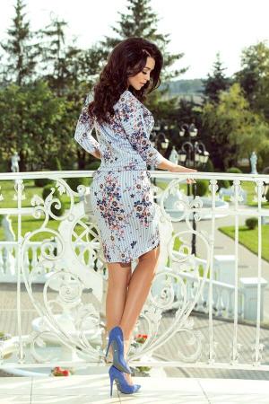 Rochie sport cu buzunare Simonne alb floral2