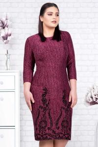 Rochie tricot mov cu catifea neagra Agapia3