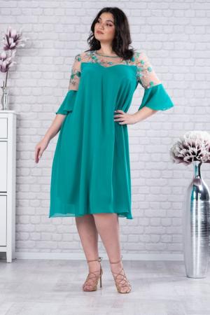 Rochie verde din voal - Rochie midi eleganta - Marimi mari [0]