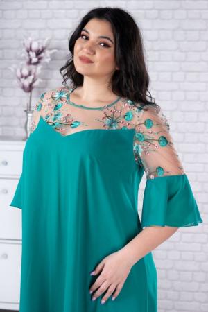 Rochie verde din voal - Rochie midi eleganta - Marimi mari [2]