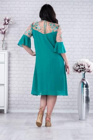Rochie verde din voal - Rochie midi eleganta - Marimi mari [1]