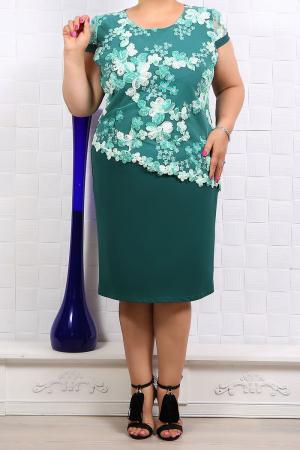 Rochie verde eleganta cu broderie florala - Marimi mari [0]