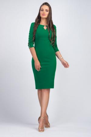 Rochie verde midi casual cu maneci lungi cu perle - Marimi mari [0]