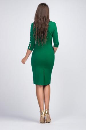 Rochie verde midi casual cu maneci lungi cu perle - Marimi mari [1]