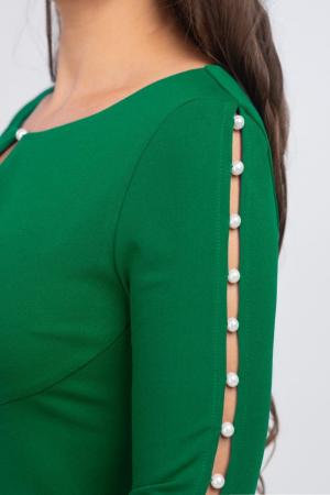 Rochie verde midi casual cu maneci lungi cu perle - Marimi mari [2]