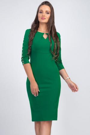Rochie verde midi casual cu maneci lungi cu perle - Marimi mari [4]