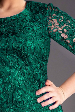 Rochie verde smarald din dantela Marlo - Marimi mari [1]
