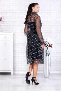Rochie neagra eleganta cu buline albe Elisabeth1