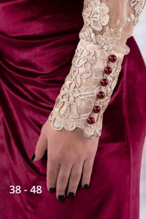 Rochie grena de seara din catifea cu dantela Carola2