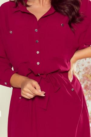 Rochie stil camasa cu cordon Brooke, grena3