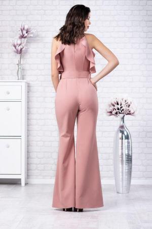 Salopeta eleganta cu pantaloni evazati Jolie roz1