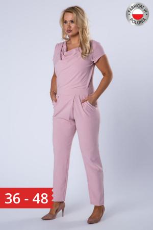 Salopeta eleganta dama, pantaloni conici, roz [0]