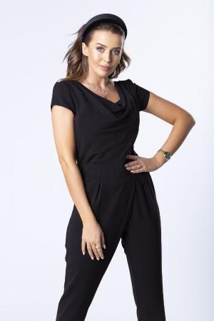 Salopeta eleganta neagra cu pantaloni conici1