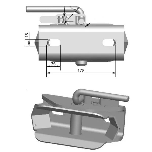 Carlig / Cupla tractare remorci, tractor,  8 tone [3]