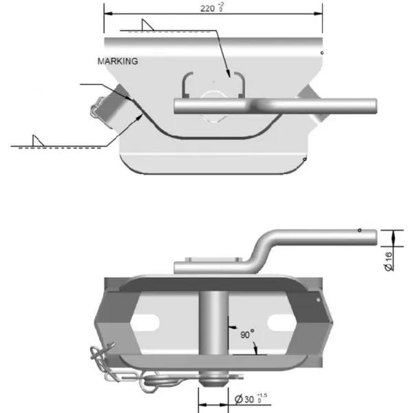 Carlig / Cupla tractare remorci, tractor,  8 tone [1]