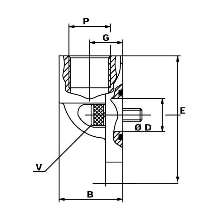 Flansa pompa hidraulica 3/4, conectare SAE 2