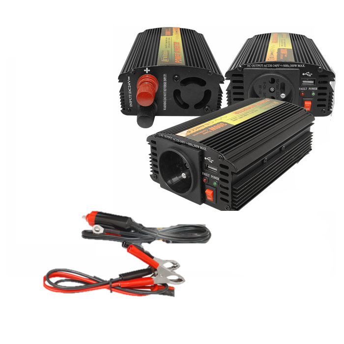 Invertor tensiune 12 V - 230 V, 300 W, dual USB (4,65 A) 0