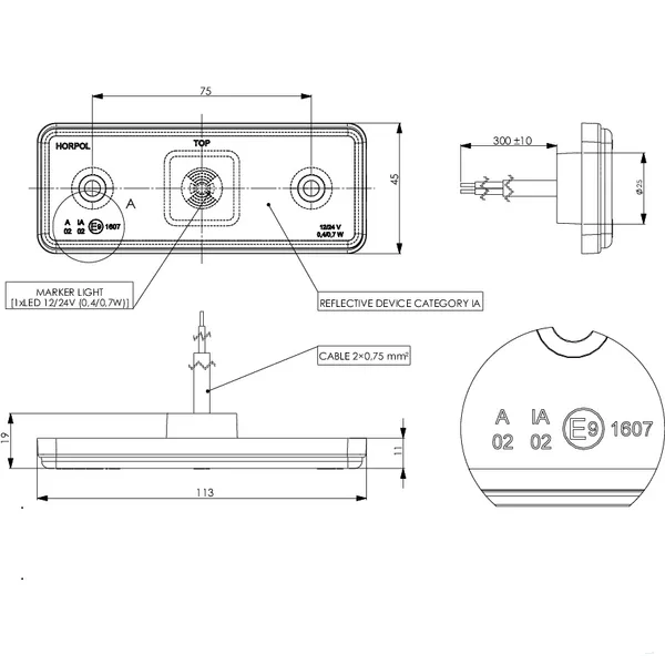 Lampa agabarit LED, 10-30 VDC 1
