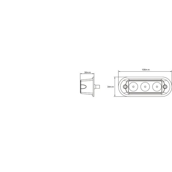 Lampa / Stroboscop semalizare gabarit 9 W, LED 3