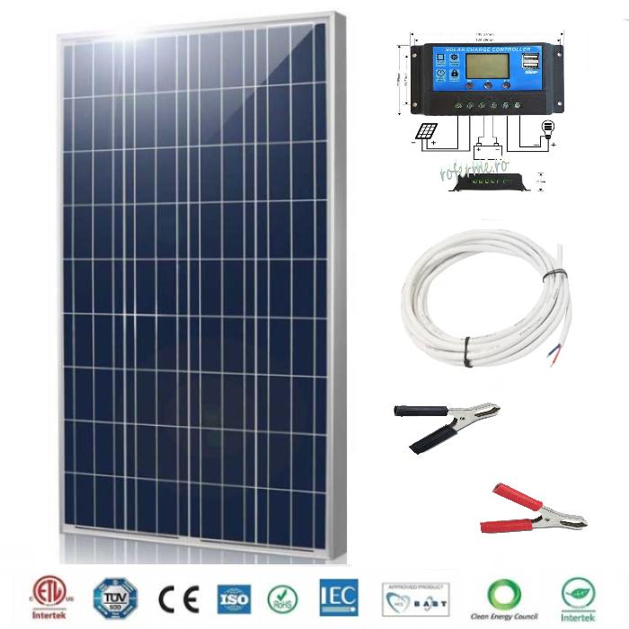 Panou fotovoltaic (solar) 100 W + regulator incarcare si cabluri 0