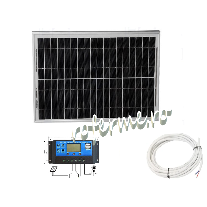 Panou fotovoltaic (solar) 20 W + regulator incarcare si cabluri 0