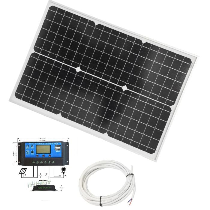 Panou fotovoltaic (solar) 30 W + regulator incarcare si cabluri [0]