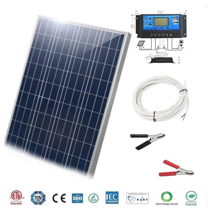 Panou fotovoltaic (solar) 50 W + regulator incarcare si cabluri [0]