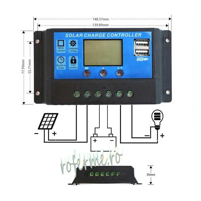 Regulator solar incarcare 12/24 VDC, 10A, dual 0