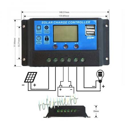 Regulator solar incarcare 12/24 VDC, 30A, cu USB [0]
