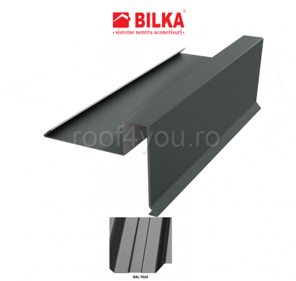 Bordura fronton sub tigla industriala BILKA Lucios 0,5 mm / 312 mm / RAL 7024 0
