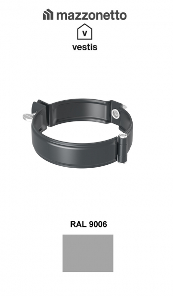 Bratara burlan semicircular Ø100, Aluminiu Mazzonetto Vestis, RAL 9006 [1]