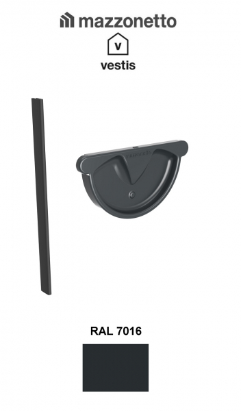 Capac semicircular cu garnitura jgheab Ø150, Burlan Ø100, Aluminiu Mazzonetto Vestis, RAL 7016 [1]