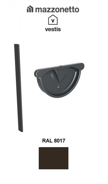Capac semicircular cu garnitura jgheab Ø150, Burlan Ø100, Aluminiu Mazzonetto Vestis, RAL 8017 [0]