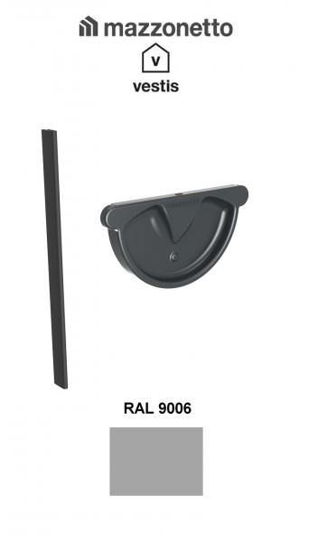 Capac semicircular cu garnitura jgheab Ø150, Burlan Ø100, Aluminiu Mazzonetto Vestis, RAL 9006 0