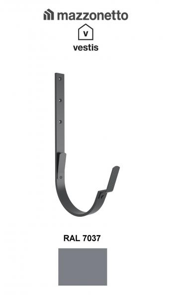 Carlig lung pentru jgheab semicircular Ø150, Aluminiu Mazzonetto Vestis, RAL 7037 0
