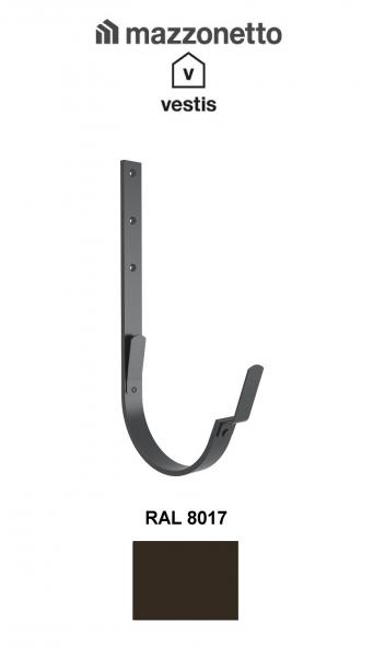 Carlig lung pentru jgheab semicircular Ø150, Aluminiu Mazzonetto Vestis, RAL 8017 0