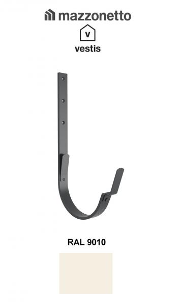 Carlig lung pentru jgheab semicircular Ø150, Aluminiu Mazzonetto Vestis, RAL 9010 0