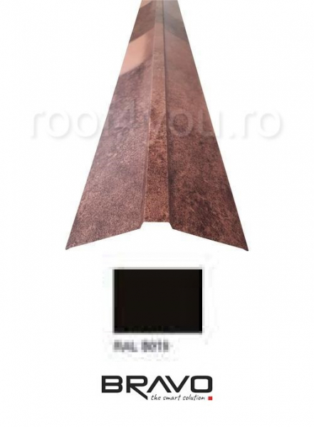 Coama dreapta 2 m Structurat BRAVO  0,40 mm / RAL 8019  latime 312 mm 0