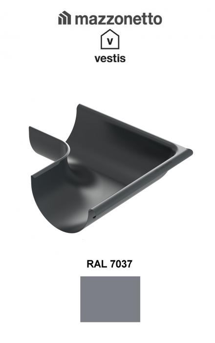 Coltar exterior semicircular jgheab Ø150, Burlan Ø100, Aluminiu Mazzonetto Vestis, RAL 7037 [0]