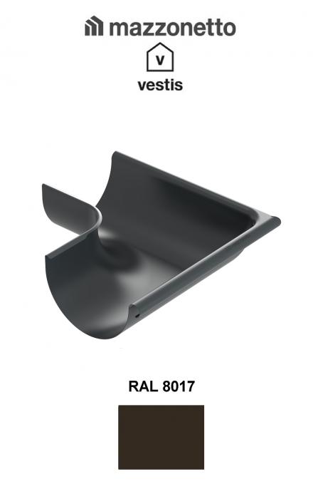 Coltar exterior semicircular jgheab Ø150, Burlan Ø100, Aluminiu Mazzonetto Vestis, RAL 8017 [0]