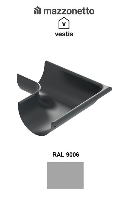 Coltar exterior semicircular jgheab Ø150, Burlan Ø100, Aluminiu Mazzonetto Vestis, RAL 9006 [0]